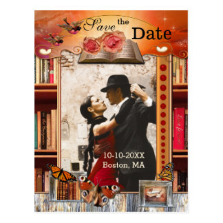 Book Lover Fantasy Photo Save the Date Postcard