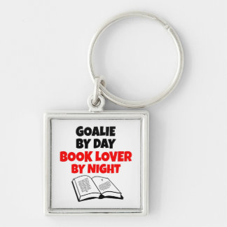 Book Lover Goalie Silver-Colored Square Keychain