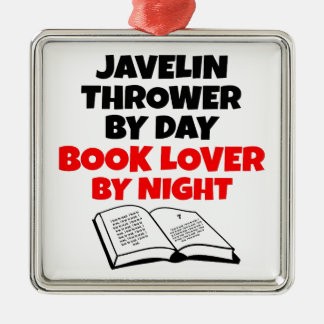 Book Lover Javelin Thrower Square Metal Christmas Ornament