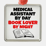 Book Lover Medical Assistant Square Metal Christmas Ornament
