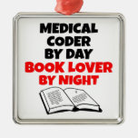 Book Lover Medical Coder Square Metal Christmas Ornament