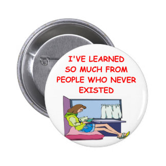 book lover pinback button