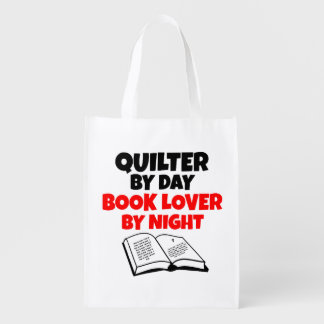 Book Lover Quilter Reusable Grocery Bag
