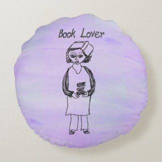 Book Lover Round Pillow