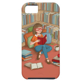 Book Lover sitting with her books iPhone SE/5/5s Case