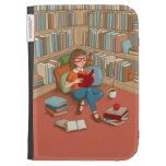 Book Lover sitting with her books Kindle 3 Case