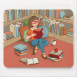 Book Lover sitting with her books Mouse Pad