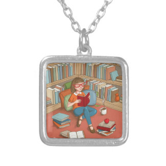 Book Lover sitting with her books Square Pendant Necklace