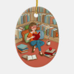 Book Lover sitting with her books Double-Sided Oval Ceramic Christmas Ornament