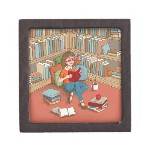 Book Lover sitting with her books Premium Jewelry Box