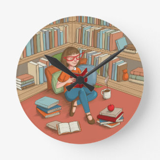 Book Lover sitting with her books Round Clock