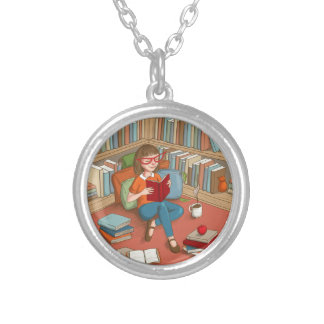 Book Lover sitting with her books Round Pendant Necklace