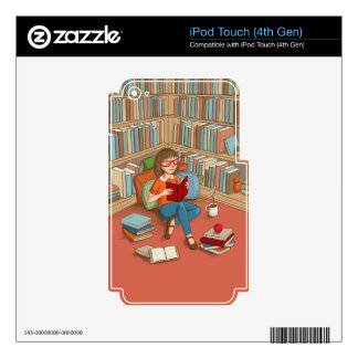 Book Lover sitting with her books iPod Touch 4G Decal