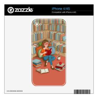 Book Lover sitting with her books iPhone 4S Decal