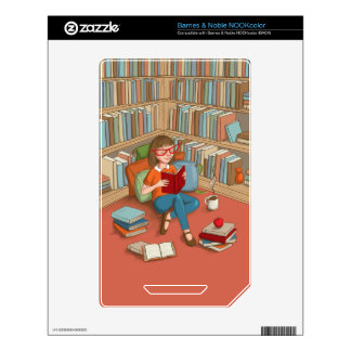 Book Lover sitting with her books NOOK Color Decal