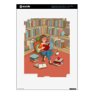 Book Lover sitting with her books Skins For iPad 3