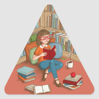 Book Lover sitting with her books Triangle Sticker