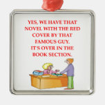 book lover square metal christmas ornament