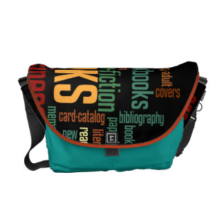 Book Lovers Autumn Colorful Text Messenger Bag