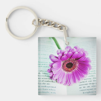 Book Lovers Book and Flower Keychain