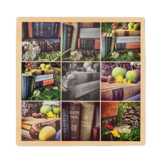 Book Lovers Collage Wooden Coaster