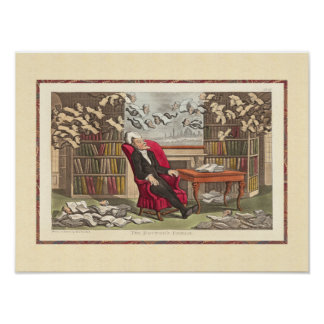 Book Lover's Fantasy Flying Books Dream Antique Poster