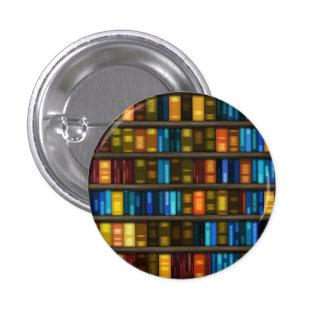 Book Lovers & Librarians Colorful Books on Shelf 1 Inch Round Button