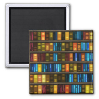 Book Lovers & Librarians Colorful Books on Shelf 2 Inch Square Magnet