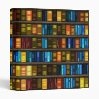 Book Lovers & Librarians Colorful Books on Shelf 3 Ring Binder