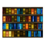 Book Lovers & Librarians Colorful Books on Shelf Post Card