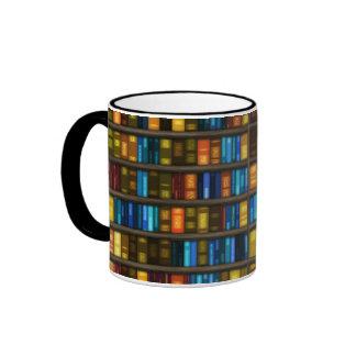 Book Lovers & Librarians Colorful Books on Shelf Ringer Mug