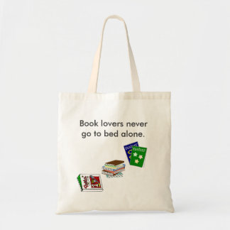 Book lovers never go to bed alone canvas bag