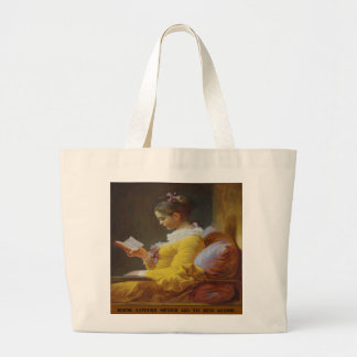 Book Lovers Never Go to Bed Alone Large Tote Bag