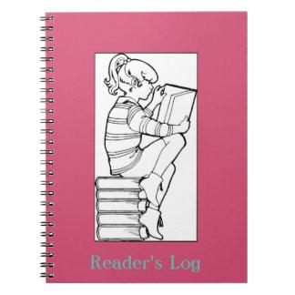 Book Lovers Reader's Log; Girl Reading Books Image Spiral Notebook