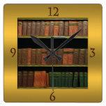 Book Lover's Square Gold Clocks