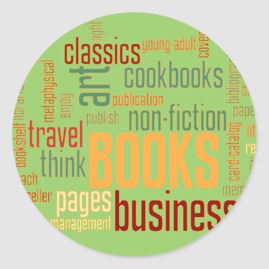 Book Lovers Typography Bookplate Classic Round Sticker