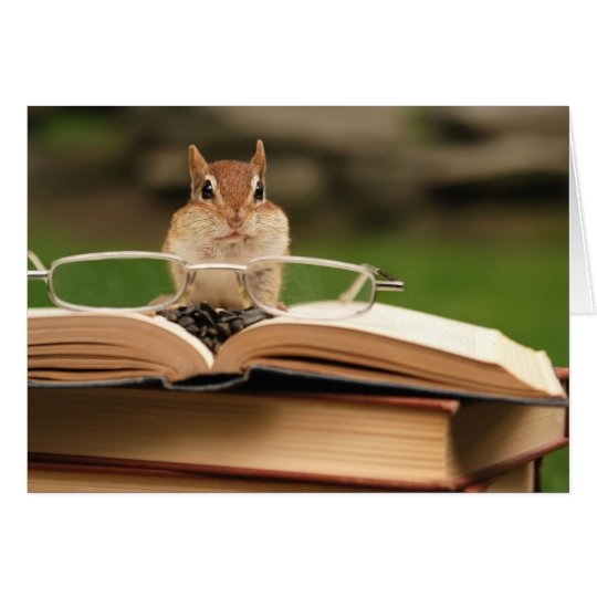 Book loving chipmunk card
