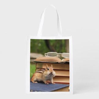Book Loving Chipmunk Reusable Grocery Bag