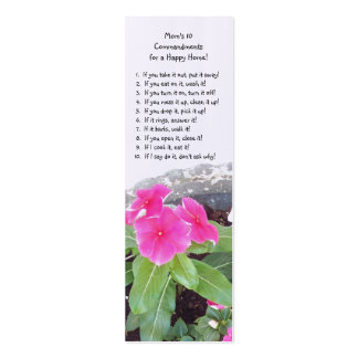 Book Mark - Mom's 10 Commandments Book Mark Double-Sided Mini Business Cards (Pack Of 20)