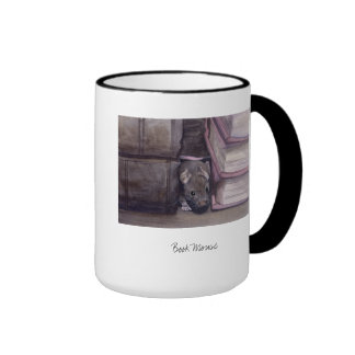 'Book Mouse' Painted in Waterclour Ringer Mug