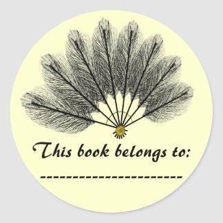 Book Name Plate Sticker Fantasy Feather Mask
