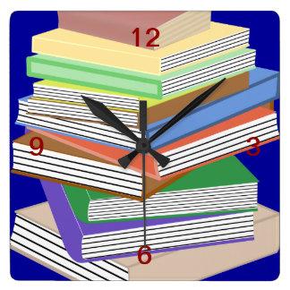 Book Nerd Square Wall Clock