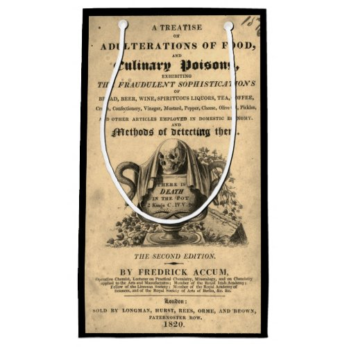 Book of culinary poisons from 1820 antique skull small gift bag