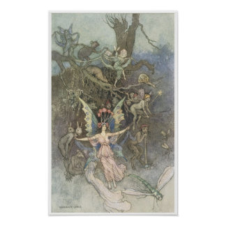 Book of Fairy Poetry, Victorian Era Fairy Painting Poster