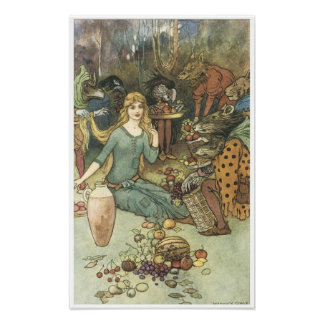 Book of Fairy Poetry, Vintage Fairy Painting Poster
