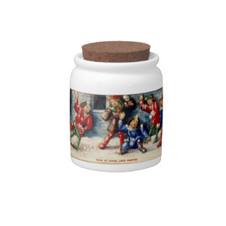 BOOK OF HOURS 16TH CENTURY SNOWBALL FIGHT CANDY DISH