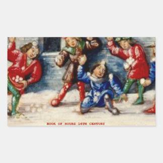BOOK OF HOURS 16TH CENTURY SNOWBALL FIGHT RECTANGULAR STICKER