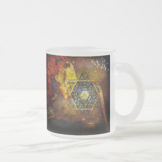 Book of life sacred geometry frosted glass coffee mug