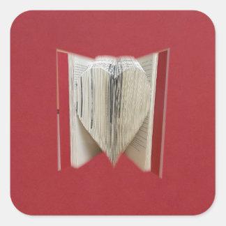 Book Of Love Heart Square Sticker