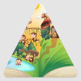 Book of monkeys living by the river triangle sticker